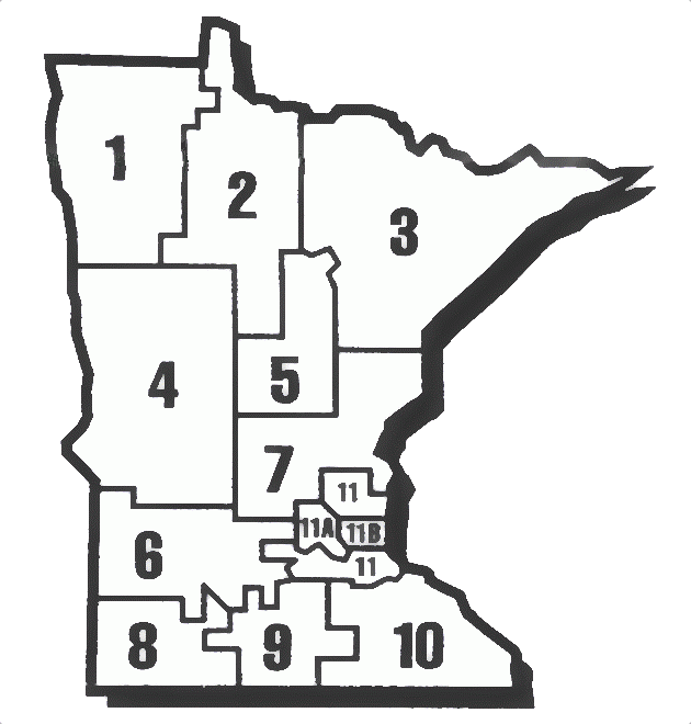 A map of the regions of Minnesota
