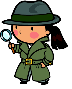 cartoon investigator female looking thorugh magnifying glass