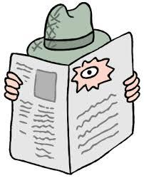 cartoon male private investigator hiding behind a newspaper